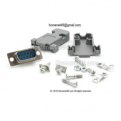 ชุดหัว Serial (RS232) 9 Pins ตัวผู้ (M) แบบประกอบเอง + น๊อต ครบชุด