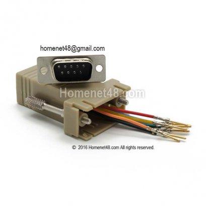 หัวแปลง Serial (9 Pins) M to LAN (Cat5E) แบบนำไปเข้าหัวเอง (2/pack)