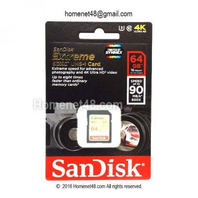 Sandisk Extreme SD Card 4K (SDXC 90M/S) 64GB  (5Y Synnex)