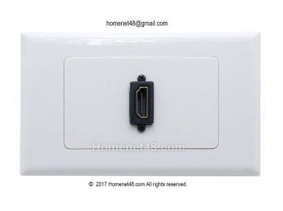 หน้ากากเต้ารับสาย HDMI ตัวเมีย (F>F) 1 ช่อง (สี่เหลี่ยมผืนผ้า) (หัวตรง)