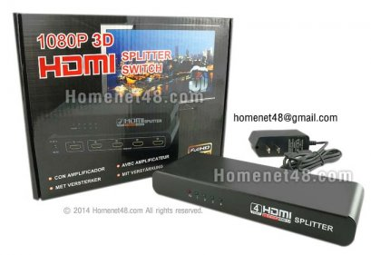 HDMI (V1.4 1080P) Splitter 4 Port + Adapter ขอบมน