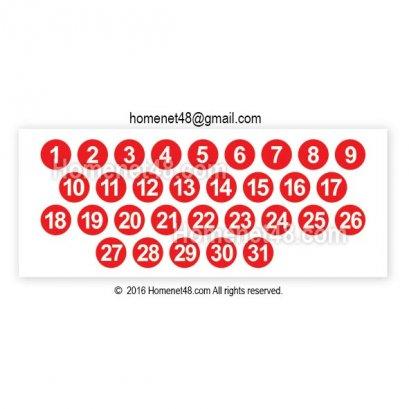 สติ๊กเกอร์ ตัวเลข วันที่ 1-31 วงกลม (1.5x1.5 ซม.)