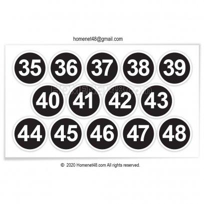 สติกเกอร์ ตัวเลข วงกลมขอบขาว ติดเบอร์รองเท้า 35-48  (2x2 cm.)