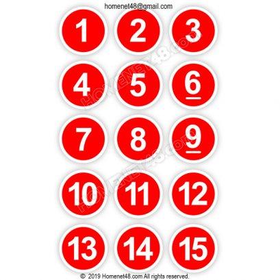 สติกเกอร์ (Sticker) วงกลมตัวเลข ติดโต๊ะอาหาร (8.5x8.5 cm.)