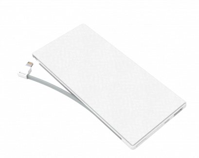PHILIPS Powerbank 10,000mAh Li-Polymer, built-in MFI cable 1A + USB 2.1A. - White