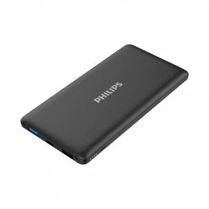 Philips Powerbank 10,000mAh Li-Polymer, USB1 2.1A, USB2 1A (total out max 2.1A). Micro USB 2A + Type C 2A (input only)- Black