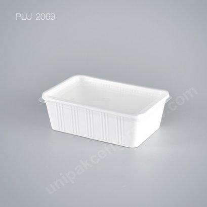 กล่องอาหาร 1 ช่อง PP ขาว 750 ml. + ฝา
