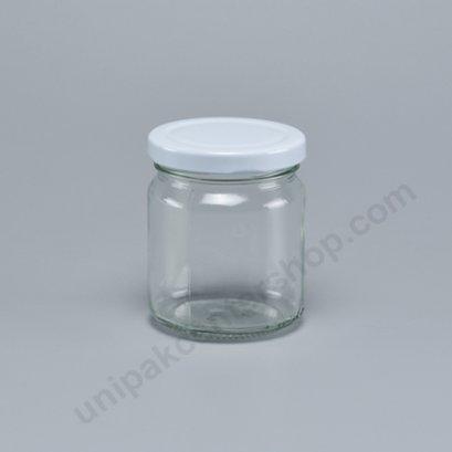 ขวดแก้วอาหาร 7 ออนซ์ (TG218) พร้อมฝาเกลียวล็อค สีขาว ขนาด 63 mm
