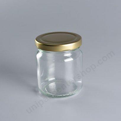 ขวดแก้วอาหาร 7 ออนซ์ (TG218) พร้อมฝาเกลียวล็อค สีทอง ขนาด 63 mm