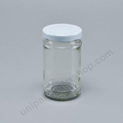ขวดแก้วอาหาร 4 ออนซ์  (TG280) พร้อมฝาเกลียวล็อด สีขาว ขนาด 48 mm