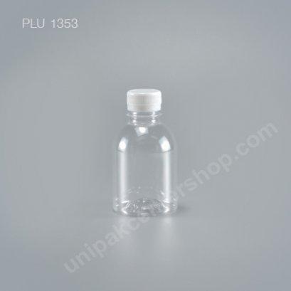 ขวดน้ำผลไม้PET กลมเรียบเตี้ย 220cc ปาก30mm +ฝาขาว