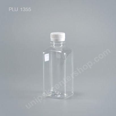 ขวดน้ำผลไม้PET เหลี่ยม 330cc +ฝาขาว ปาก30mm