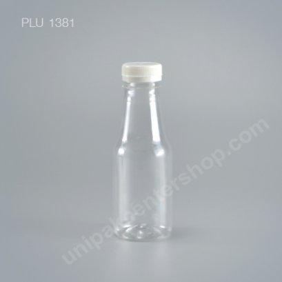 ขวดน้ำผลไม้ PET 250 cc กลม คอยาว+ฝาขาว ปาก 34 mm