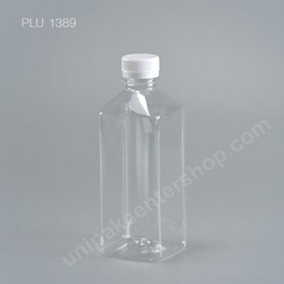 ขวดน้ำผลไม้ PET 500 cc เหลี่ยมเรียบเตี้ย + ฝาขาว ปาก 30 mm
