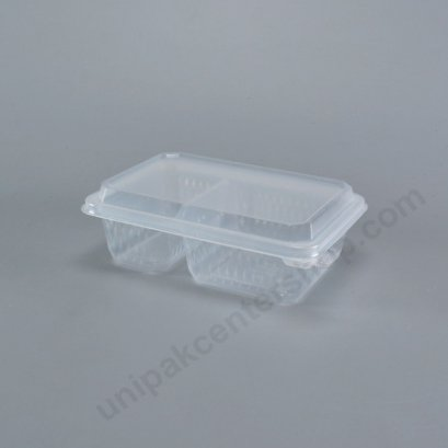 กล่องอาหาร 2 ช่อง PP (650 ml) + ฝาในตัว