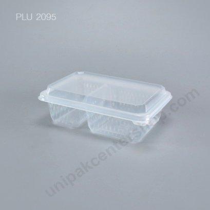 กล่องอาหาร 2 ช่อง PP (650 ml) + ฝาในตัว (EPP)