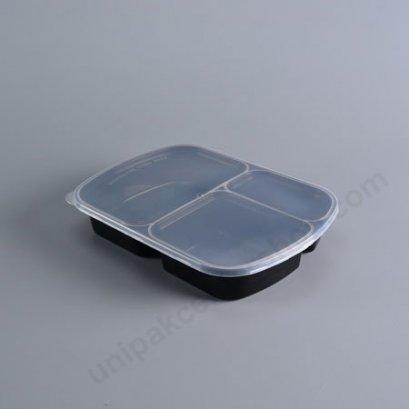 กล่องอาหาร PP ดำ 3ช่อง (800ml) +ฝาใส