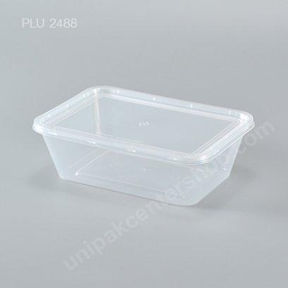 กล่องอาหารเหลี่ยม PP ใส 750 ml.+ ฝา PP ใส