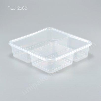 กล่องอาหารเหลี่ยม PP ใส 3 ช่อง + ฝาใส 1000 ml.