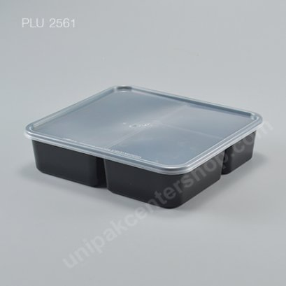 กล่องอาหารเหลี่ยม PP ดำ 3 ช่อง + ฝาใส 1000 ml.