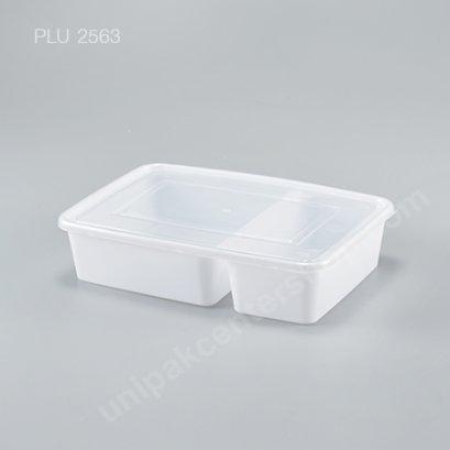 กล่องอาหาร 2 ช่อง PP ขาว + ฝาใส 700 ml.