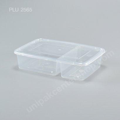 กล่องอาหาร 2 ช่อง PP ใส + ฝาใส 700 ml.