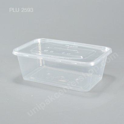 กล่องอาหารเหลี่ยม  PP ใส  + ฝา 1,000 ml