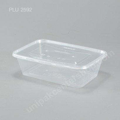 กล่องอาหารเหลี่ยม  PP ใส  + ฝา 750 ml