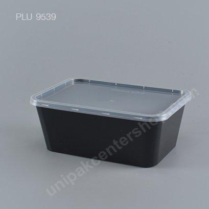 กล่องอาหารเปลี่ยมppดำ(1000ml)+ฝาใส