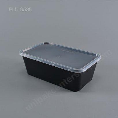กล่องอาหาร 1 ช่อง PP ดำ (1200ml) + ฝาใส