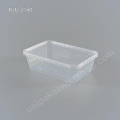 กล่องอาหารเหลี่ยม PP ใส (650 ml) + ฝา PP ใส