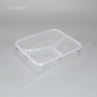 กล่องอาหารเหลี่ยม PP ใส 3 ช่อง 850 ml.+ ฝาใส