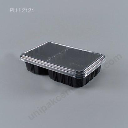 กล่องอาหาร 2 ช่อง PP ดำ (650 ml) + ฝา PET(AN)
