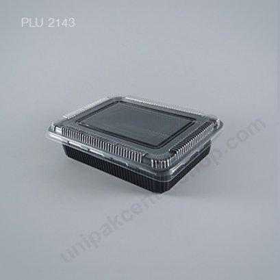 กล่องอาหาร 1 ช่อง PP ดำ(S-401สูง) + ฝา PET(กล่อง 1150ml รวมฝา 1500ml)