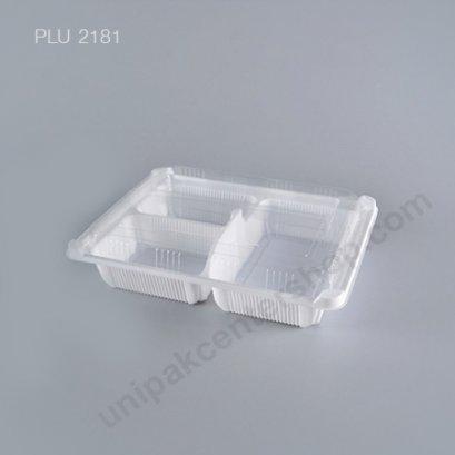 กล่องอาหาร 3 ช่อง PP ขาว + ฝา PET