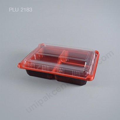 กล่องอาหาร 3 ช่อง PP ดำแดง + ฝา PET