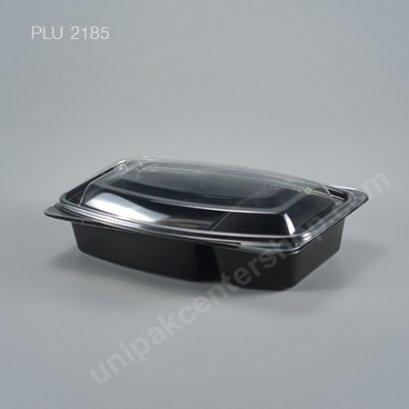 กล่องอาหารญี่ปุ่นเบนโตะ 2 ช่อง PP สีดำ + ฝา PET