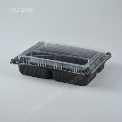 กล่องอาหาร 4 ช่อง PP สีดำ + ฝา PET