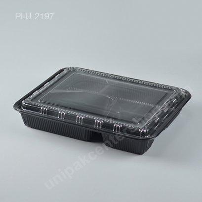 กล่องอาหาร 5 ช่อง PP สีดำ + ฝา PET