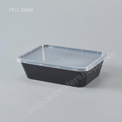 กล่องอาหาร PP ดำ + ฝาใส 650 ml.