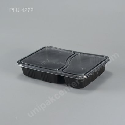 กล่องอาหาร 2 ช่อง PP ดำ + ฝา PET 700 ml