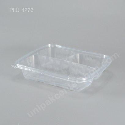 กล่องอาหาร 3 ช่อง PP ใส + ฝา PET 750 ml