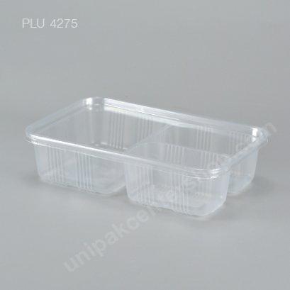 กล่องอาหาร 3 ช่อง PP ใส 900 ml + ฝา PET ใส