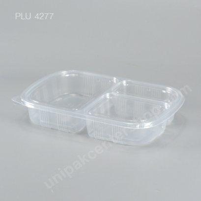 กล่องอาหาร 3 ช่อง PP ใส + ฝา PET 900 ml