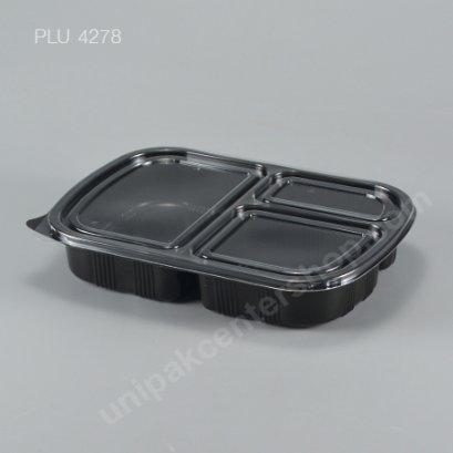 กล่องอาหาร 3 ช่อง PP ดำ + ฝา PET 900 ml