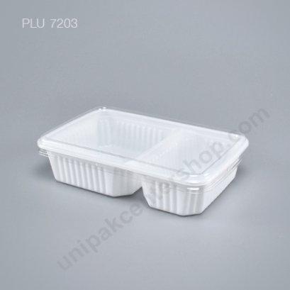 กล่องใส่อาหาร 2 ช่อง PP ขาว+ฝาPET ตรา โรดดี้แพค