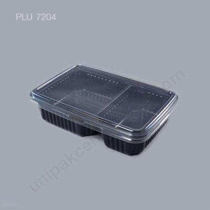 กล่องใส่อาหาร 2 ช่อง PP ดำ+ฝาPET ตรา โรดดี้แพค