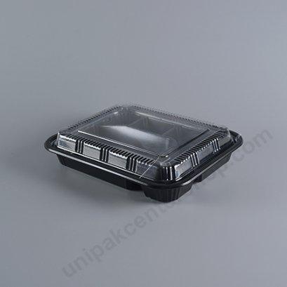 กล่องอาหารญีุ่ปุ่นดำ 5 ช่อง PS+ ฝาใส (TZ-305)