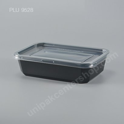 กล่องอาหาร PP ดำ 750 ml.+ ฝา PP ใส