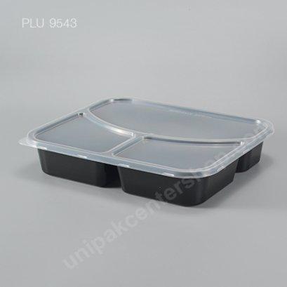 กล่องอาหารเหลี่ยม PP ดำ 3 ช่อง 850 ml.+ ฝา PP ใส